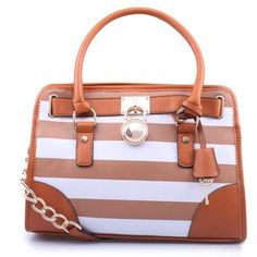 Michael Kors Hamilton Striped Lock Medium Brown Totes