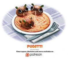 Day 1387. Pugetti by Cryptid-Creations on DeviantArt