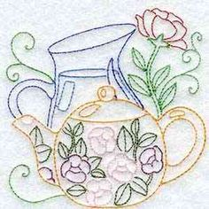 Buy Individual Embroidery Designs from the set Line Art Tea Pots hot tea or iced tea