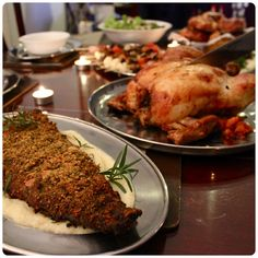 A Feast for Crows. Game of Thrones food. Lamb crusted in herbs and garlic. Hen stuffed with prunes, chestnuts and carrot.