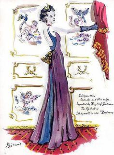 1940 Schiaparelli evening gown illustration by Christian Bérard.