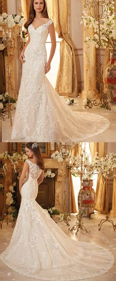 Charming Tulle V-neck Neckline Mermaid Wedding Dresses With Lace Appliques