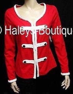 New Katherine New York Size Medium Red White Jacket Top Holiday Versatile Casual #KatherineNewYork #JacketTop #Career