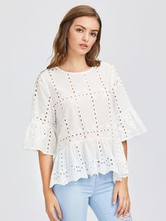 DIDK White Fluted Sleeve Eyelet Embroidered Blouse Ladies Bell Sleeve Tiered Blouse With Ruffle Autumn Round Neck Boho Top Boho Tops, Tops Bordados, Embroidered Blouse, White Shirts, Couture, Types Of Sleeves, White Tops, Shirt Blouses, Passion For Fashion