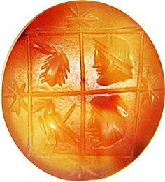 This is a rare ancient Roman magical gem intaglio, dating to the 2nd - 3rd century A.D. The main device is of a square divided into four, each point having a star. Inside we see the heads of Jupiter, Mercury, a scorpion and an eagle or raven. It has been suggested this is a representation of the seasons, but I feel it is more of a magical gem associated with the mystery religions. It is certainly very interesting and important little gemstone.