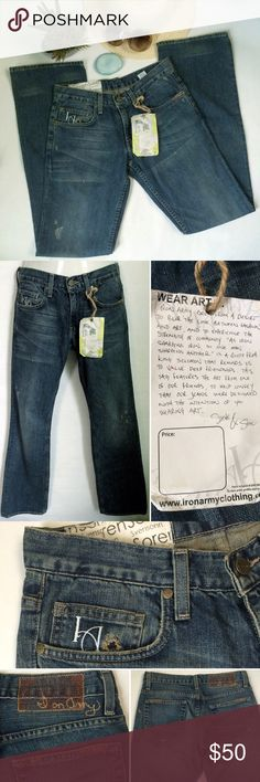 ✨NEW Listing✨Iron Army 100% cotton premium jeans Iron Army premium denim jeans in 100% cotton has semi-destroyed look with whiskering. Not sure of style/fit, but think these might be straight leg or boyfriend. Irregular piece with missing 'r' on back brand stitching. Size is 28. 100% cotton. Not interested in trades. NWOT. Iron Army Jeans