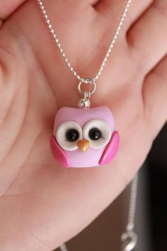 This listing is for ONE polymer clay owl necklace. Each pendant is approximately 1 in diameter and comes on an 18 silver ball chain necklace. They are beautifully detailed. Color choices are blue (pictured), pink (pictured), purple, and mint. If you would like a color that is not listed