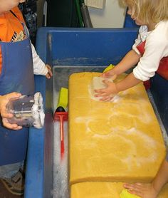 Giant soapy sponge at the water table