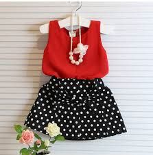 2015 Baby Girls Clothing Sets Summer Red Chiffon Vest+bow polka dot Skirt Outfit
