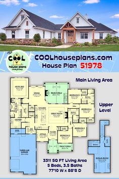 Craftsman inspired farmhouse home with 5 bedrooms and 3.5 baths and a large bonus room. Offering an open design with volume ceilings, office and large rear porch with outdoor kitchen. All bedrooms offer a walk-in closet and access to spacious baths. The master suite includes a luxurious master bath with large custom shower and separate sinks. Laundry room is conveniently located to and accessible from the master bath. Home features two sets of gas logs for cozy living or backyard… Farmhouse Floor Plans, Craftsman Exterior, Garage Apartments, Dream House Plans, Model Homes, Southern Style, Great Rooms, Master Suite, Master Bath