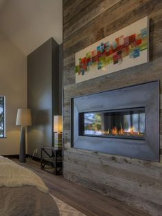 Newest Photo Contemporary Fireplace bedroom Concepts Modern fireplace designs can cover a broader category compared for their contemporary counterparts. Metal Fireplace, House, Home, Home Fireplace, Wood Fireplace, Fireplace Design, New Homes, Contemporary Bedroom, Fireplace