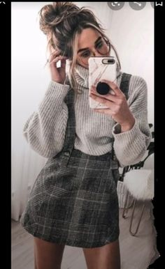 Cute Preppy Outfits, Spring Outfits Women Casual, Winter Dress Outfits, Warm Outfits, Stylish Outfits, Dress Winter, Trendy Dresses, Dresses For Teens, Wattpad