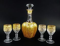 ANTIQUE MOSER GLASS CORDIAL SET. Heavy Gold in Floral & Bird Motif Decanter and  #Moser