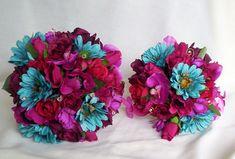 Fuschia and Turquoise Wedding Flowers