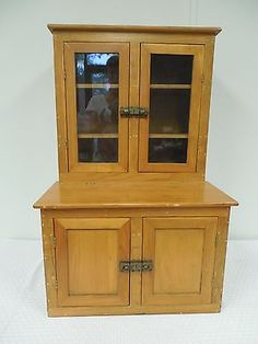 Antique Childs Wood Hoosier Cabinet Cupboard Salesman Sample Very Rare