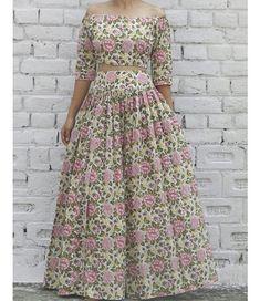 Off Shoulder Top and Flared Block Print Skirt Set 47ce0d27e