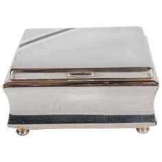 Handsome Art Deco Silver Plated Square Box by WMF | From a unique collection of antique and modern boxes at https://www.1stdibs.com/furniture/decorative-objects/boxes/