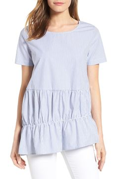 Ruffle Tier Stripe Top Nordstrom Half Yearly Sale, Casual Chic, Ruffles, Ready To Wear, Stripe Top, Blue And White, Tunic Tops, Cotton, How To Wear