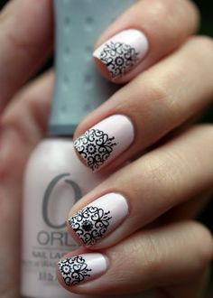 Everything But a French nails Lace Nail Art, Lace Nails, Henna Nails, Lace Art, French Nails, French Manicures, Gorgeous Nails, Pretty Nails, Fabulous Nails