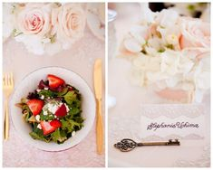 tea party bridal shower, stephanie uchima, preppy chic, lunch, gold silverware, name card, lace, pink roses