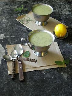 creamy zucchini soup with lemon balm herb