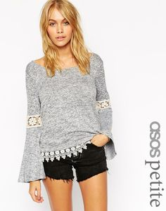 Image 1 ofASOS PETITE Cut and Sew Jumper with Lace Insert