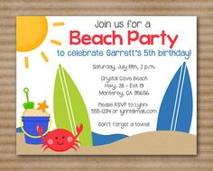 7 PRINTABLE Beach Party Invitation By PaperHouseDesigns Water Invitations Birthday