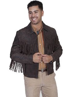 Scully Men's Brown Boar Suede Leather Frontier Mountain Man Jacket - XL #Scully #WesternFringe