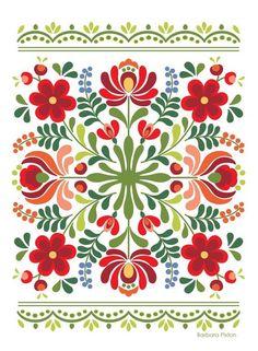 Ungarische Volkskunst-Rot-Blumen - Indispensable address of art Hungarian folk art red flowers Folk Art Flowers, Red Flowers, Flower Art, Art Floral, Motif Floral, Hungarian Embroidery, Folk Embroidery, Polish Embroidery, Embroidery Stitches
