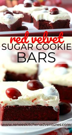 Red Velvet Sugar Cookie Bars by Renee's Kitchen Adventures are a FUN treat! Decadent red velvet cookie bar covered in rich cream cheese frosting and topped with red velvet M&Ms. Can't find the red velvet candies...top with whatever you like! Sprinkles, white chocolate shavings! The choice is yours! #RKArecipes #Valentinesday #Valentinesdayrecipes #redvelvetbars