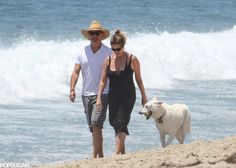 Tom Hanks and Rita Wilson took their dog on a walk in Malibu, CA, on Saturday.
