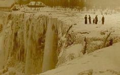 Niagra Falls iced over.