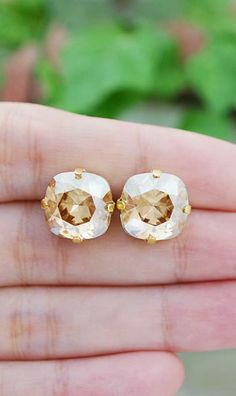 Golden Shadow Swarovski Square Ear studs from EarringsNation Bridesmaid gifts for Gold Wedding Estate Style