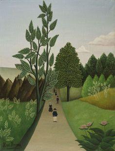Henri Rousseau (French, 1844-1910), Les promeneurs du dimanche [Sunday walkers]. Oil on canvas, 46 x 38 cm.