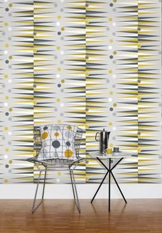 Backgammon  Mustard wallpaper by Mini Moderns
