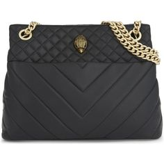 Kurt Geiger London Kensington tote ($195) ❤ liked on Polyvore featuring bags, handbags, tote bags, tote handbags, studded handbags, quilted totes, kurt geiger and quilted handbags
