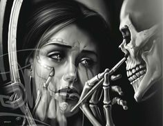 Sugar Skull self portrait- woe! Chicano Tattoos, Skull Tattoos, Body Art Tattoos, Tatoos, Ear Tattoos, Dope Tattoos, Og Abel Art, Arte Lowrider, Catrina Tattoo