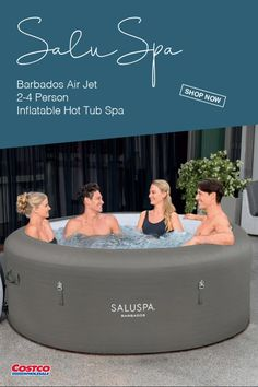 Relax and unwind with up to four people in the SaluSpa® Barbados AirJet™ Inflatable Hot Tub Spa. Equipped with a pump that quickly inflates the spa, heats it up, and runs filtration, this spa is both easy and convenient. The AirJet system provides a soothing massage experience, and the reinforced cover locks in heat while not in use. Shop now at Costco.com.