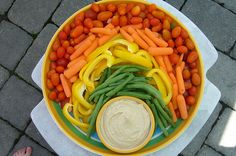 Rainbow Veggie tray! Just add black olives on under the green beans for blue/purple or get the actual greek purple colored olives (pitted).