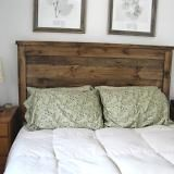 Reclaimed wood headboard. Adam has some heart pine that he salvaged from a job site. How awesome would it be as a new headboard so that the tradtional sleigh bed can G-O!!!