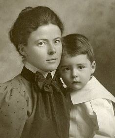 Beautiful portrait of a young Victorian Mother and her little boy. Hartford, CT