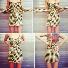 No sew dress, t shirt dress diy, dress out, diy dress, blouse dress Dress Out, Diy Dress, Dress Shirt, No Sew Dress, Prom Dress, Cute Dresses, Cute Outfits, Dresses Dresses, Tomboy Outfits