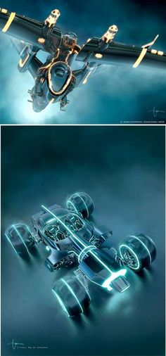Tron Legacy - Light Fighter and Light Runner Tron Legacy, Concept Ships, Concept Cars, Web Design, Game Design, Cyberpunk, Tron Art, Science Fiction, Futuristic Cars