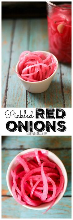 Pickled Red Onions are a bright condiment that is easy to make and goes great with just about anything! Tacos, burritos, eggs, or a classic steak! Pickled Red Onions Recipe   Take Two Tapas