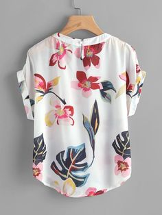ref 365 LADIES BUTTERFLY PRINT TOP WITH DIPPED HEMLINE WHITE MULTI NEW SALE