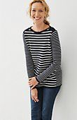 plus size shoulder-zip striped pullover | J.Jill