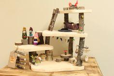 Wooden Waldorf Treehouse Play Set by Fall & Found www.fallandfound.etsy.com #waldorf #Dollhouse #gnomehome #fairygarden
