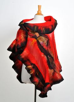 Nuno felted scarf wrap / handfelted / merino wool / by ArtInTouch, $200.00