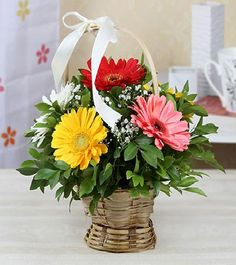 Send Round Basket Decorated with 6 Assorted Gerberas Online with same day delivery in Ahmedabad from SendGifts Ahmedabad. Order Round Basket Decorated with 6 Assorted Gerberas online and express your best feeling to your Special Person. Best Online Flowers, Order Flowers Online, Best Flower Delivery, Online Flower Delivery, Father's Day Flowers, Types Of Flowers, Fresh Flowers, Basket Flower Arrangements, Floral Arrangements