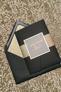 Real Wedding: Suzanne and Paul | Black and Gold Foil Wedding Invitations with Glitter! | Elegant Pocket Folder Wedding Invitations, Black and Gold Wedding Invitations, Gold Foil, Gold Glitter, Black Tie Wedding Invitations, Classic, Calligraphy Wedding Invitations, Lauren Suite, Wedding invitations, Just Invite Me